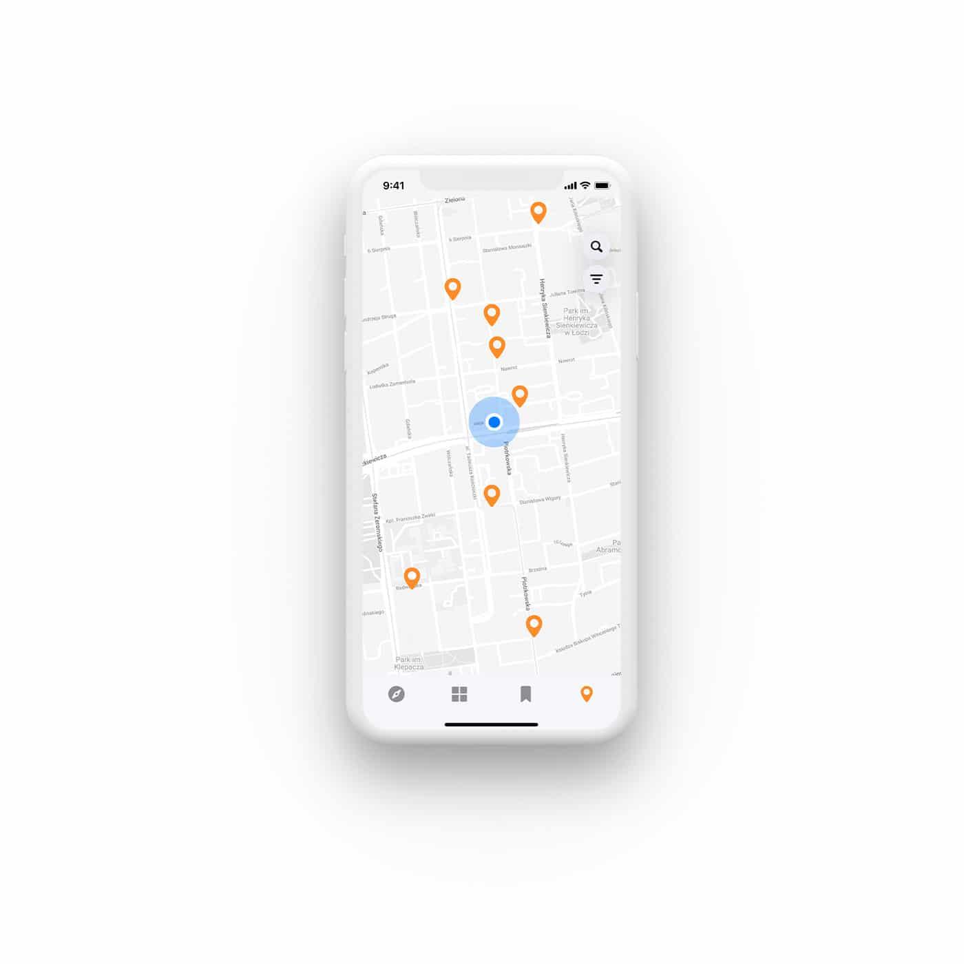 projekt aplikacji mobilnej mapa