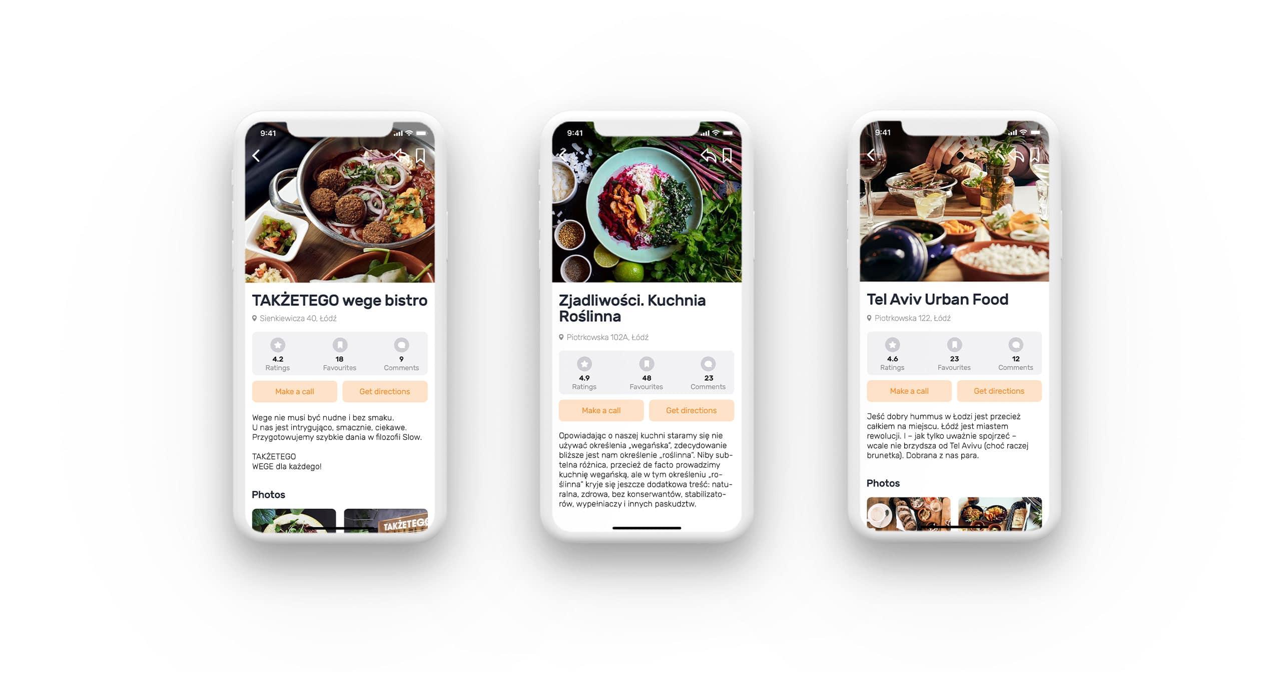 projekt aplikacji mobilnej widok restauracji