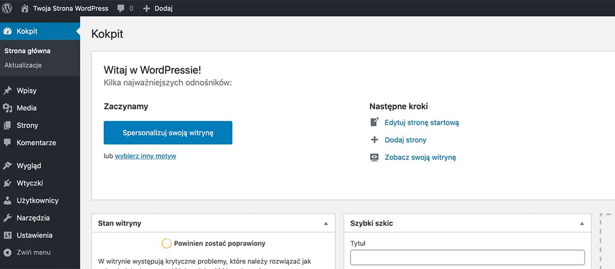 Menu główne WordPress